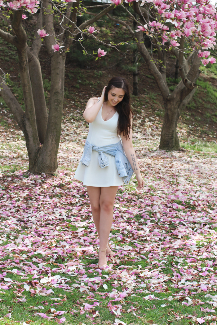 zara-sandals-cherry-blossoms-forever-21-denim-jacket-dress