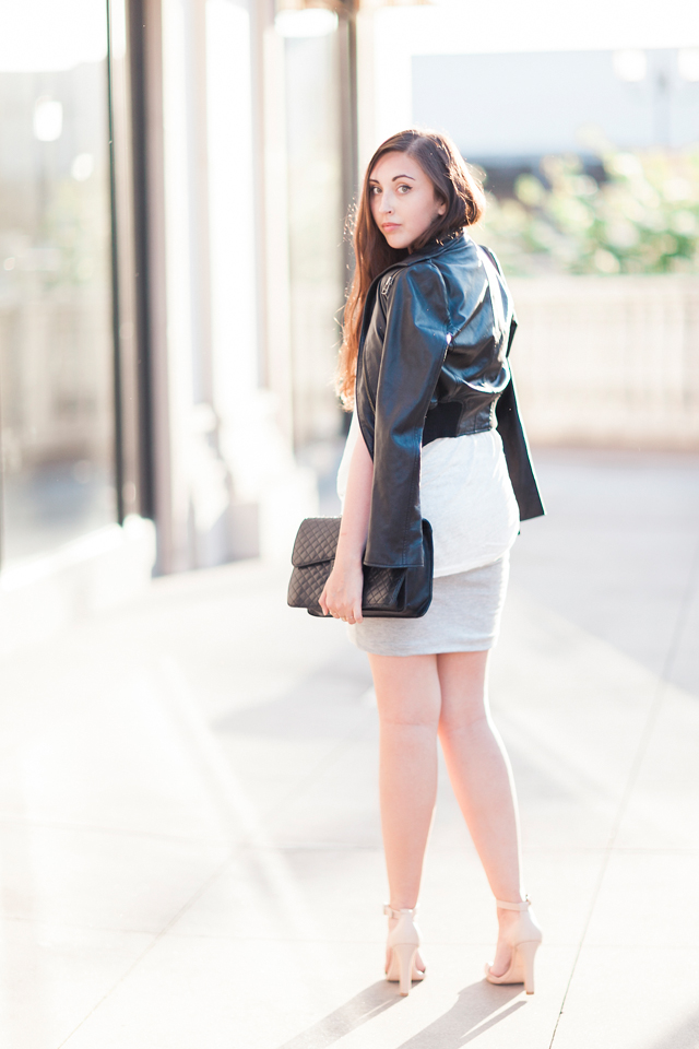 bebe-leather-jacket-zara-nude-ankle-strap-sandals-chanel-purse