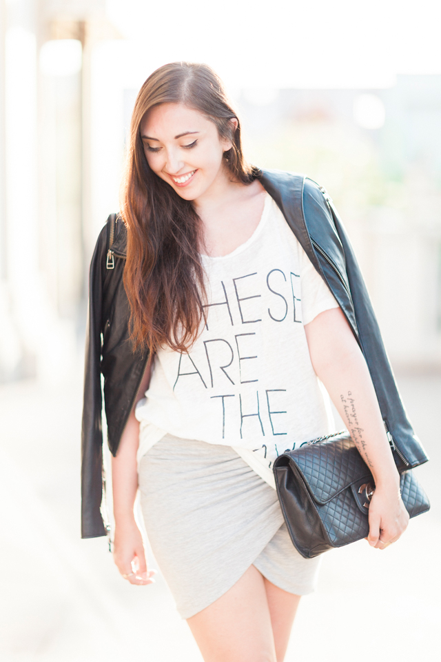 j.crew-these-are-the-days-tee-chanel-zara-skirt-bebe-leather-jacket