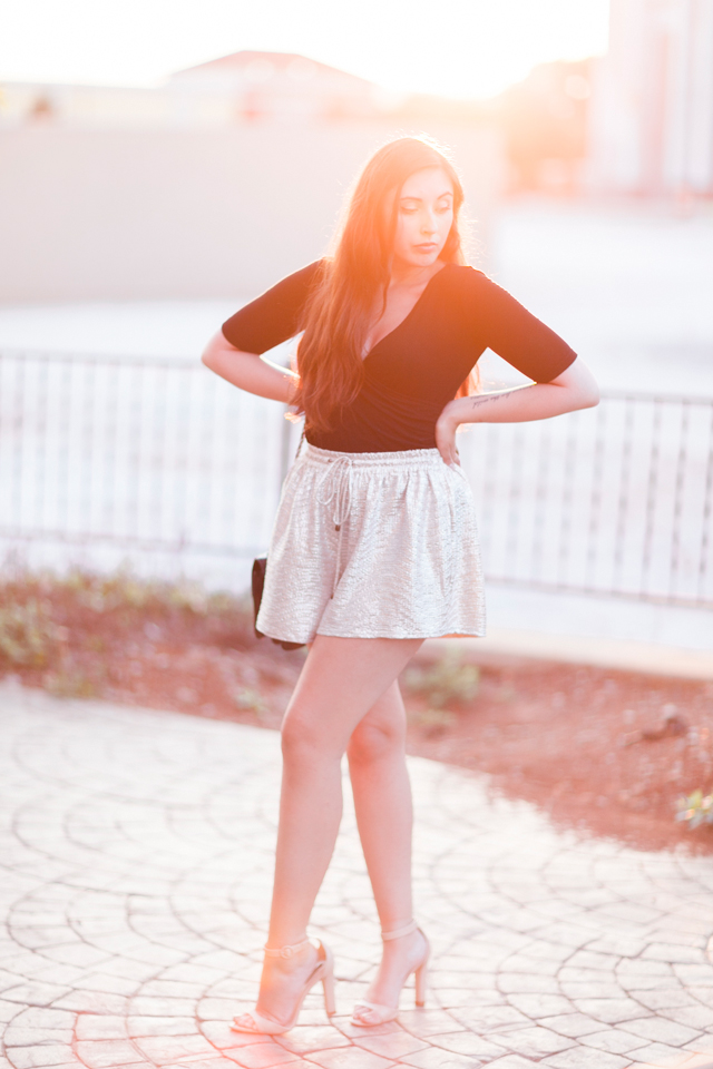 metallic-anthropologie-shimmer-shorts-zara-nude-ankle-strap-heels