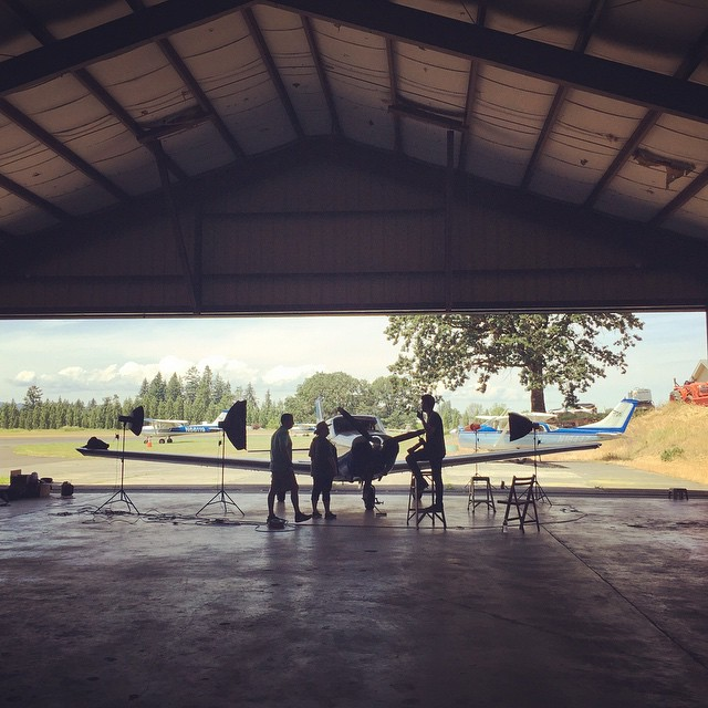 Shooting some aircraft in action for an upcoming ad campaign/product launch. Location: a hangar somewhere in Portland OR. #aviation #photoshoot #portland #photographer #photooftheday #teamcanon