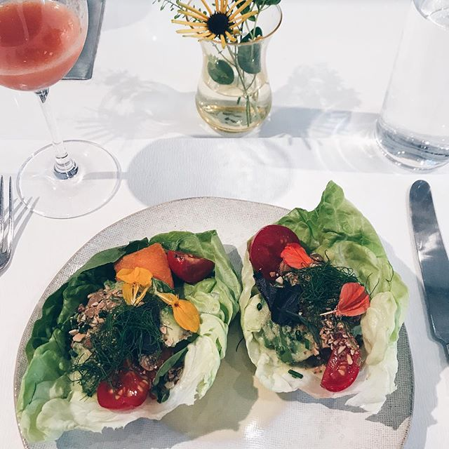 """post closing lunch - avocado lettuce cups + """"heart"""" restorative tonic @nyprinceteam"""