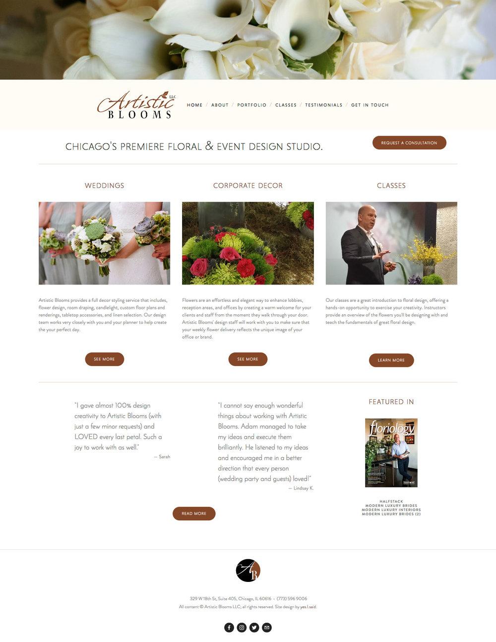 Client: Artistic Blooms Chicago / Adam Havrilla Platform: Squarespace