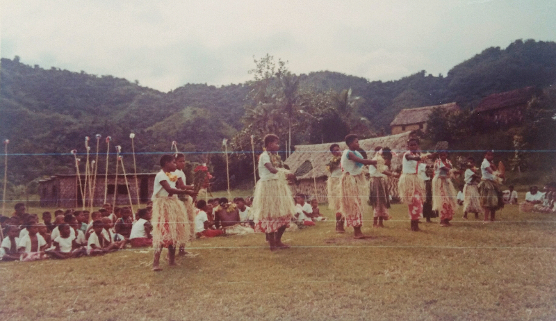 Meke, a Fijian traditional dance done by school children.