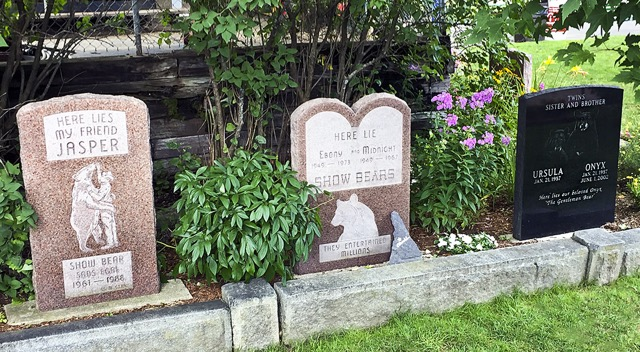 Clark's Trading Post has been a family attraction for 87 years and of the main features is a performing bear show. Past stars are lovingly memorialized on the property, Lincoln, New Hampshire.