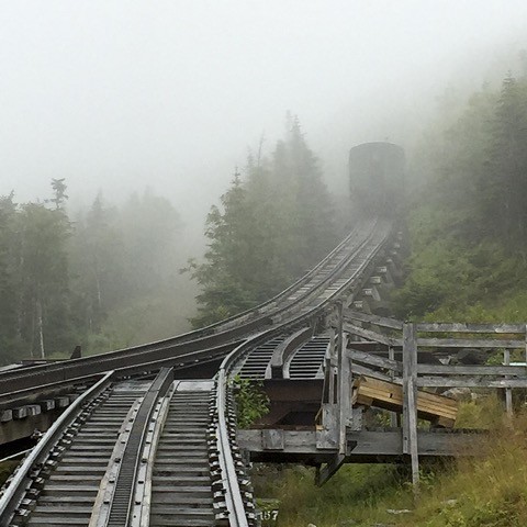 The Mt. Washington Cog Railway, the world's first such tourist attraction, was built by a man who almost died while hiking to the summit, New Hampshire