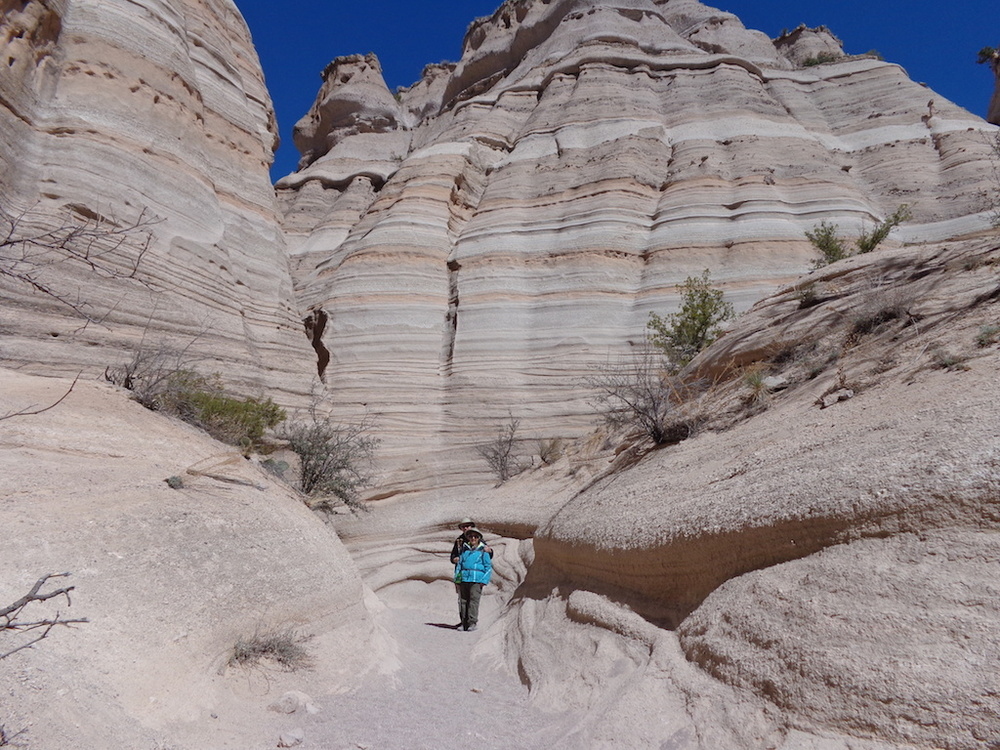 Senior hikers, Tent Rocks, NM