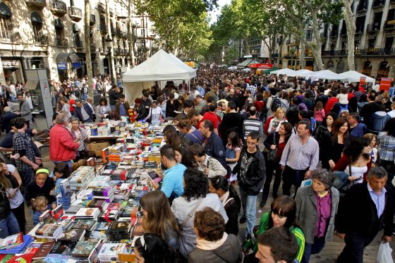 Visitors flock to the annual Sant Jordi Festival in Barcelona, Spain.