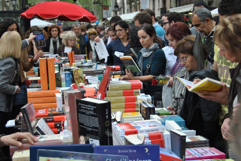 International Book Day (April 23) is celebrated as part of the Sant Jordi Festival in Barcelona. Photo by  Jordi Garcia  /Flickr CCL.