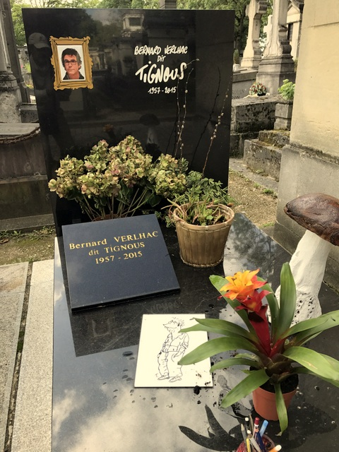 "Grave of cartoonist Bernard ""Tignous"" Verlhac, killed at the Charlie Hebdo terrorist attack, Père Lachaise Cemetery, Paris, France."