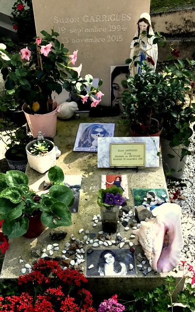 Grave of Suzon Garrigues killed at The Bataclan music venue terrorist attack, Père Lachaise Cemetery, Paris, France.