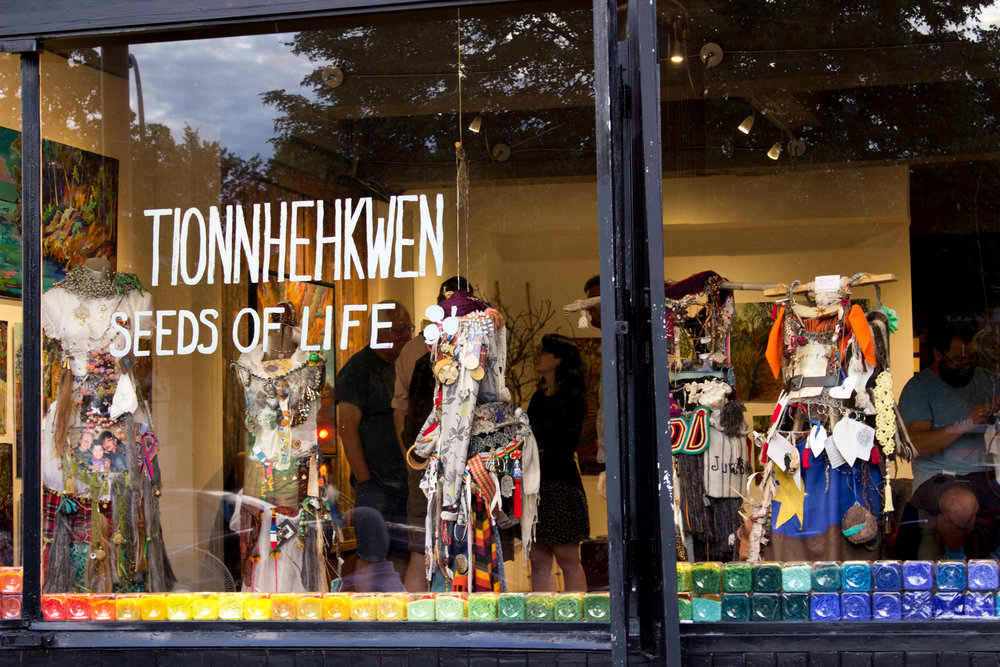Tionnhekwen: Seeds of Life. All 6 completed dresses in exhibition at Galerie Métèque, June 22 2017.