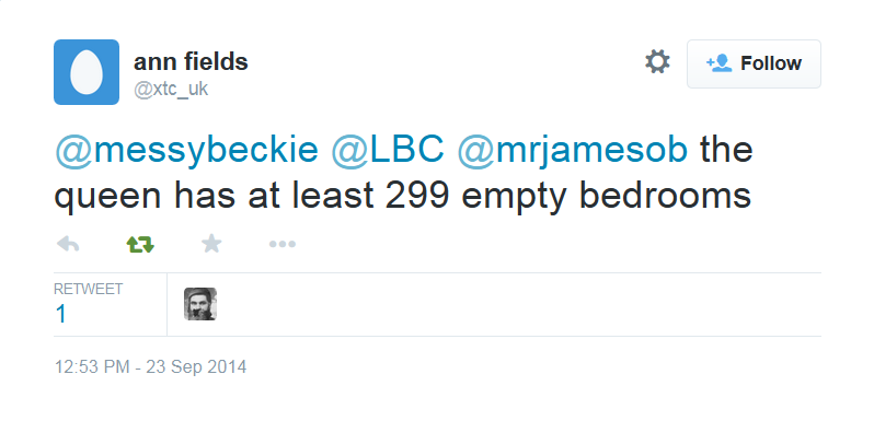 6. ...and here is a near-identical tweet about her having 299 spare bedrooms, tweeted by @xtc_uk two and a half years later.
