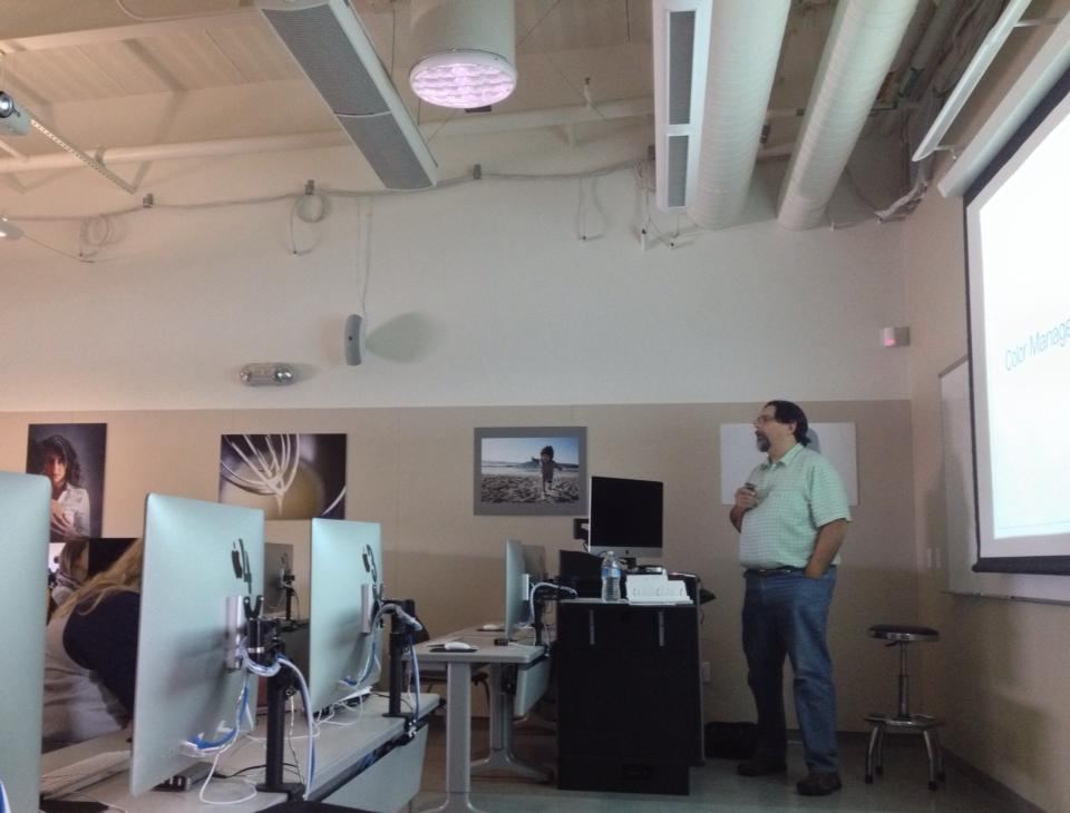 Alvaro, a proud color geek, leading a seminar at Consumnes River College