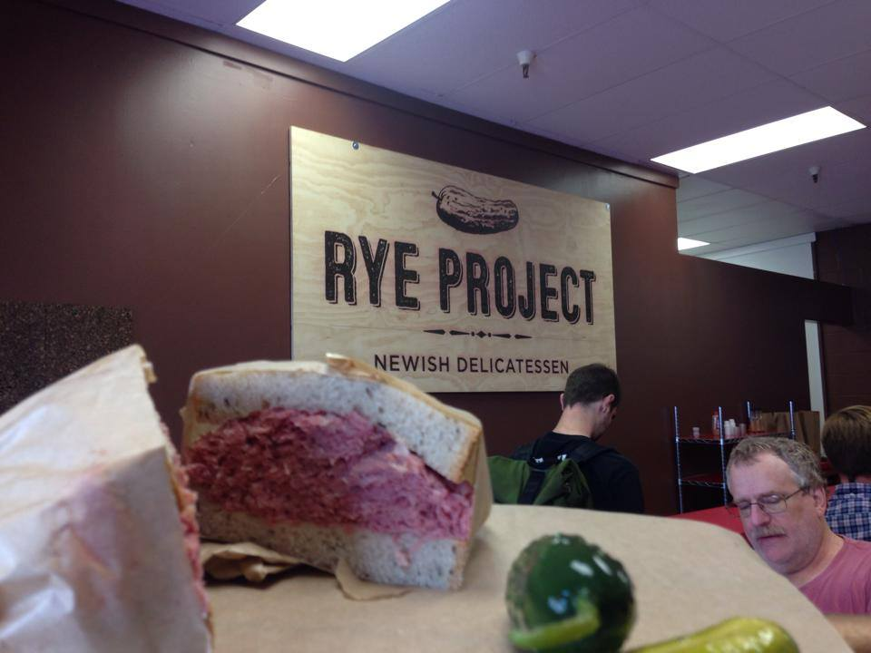 Rye Project , a Newish Delicatessen in San Francisco. We printed their sign on a 4x8 sheet of plywood to match the bold creative flavor that Rye Project adds to it's SoMa neighborhood.