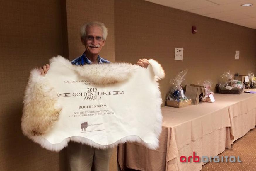 California Wool Growers Association's 2015 Golden Fleece Award Winner, Roger Ingram, with his pelt plaque! Photo courtesy of Dan Macon.