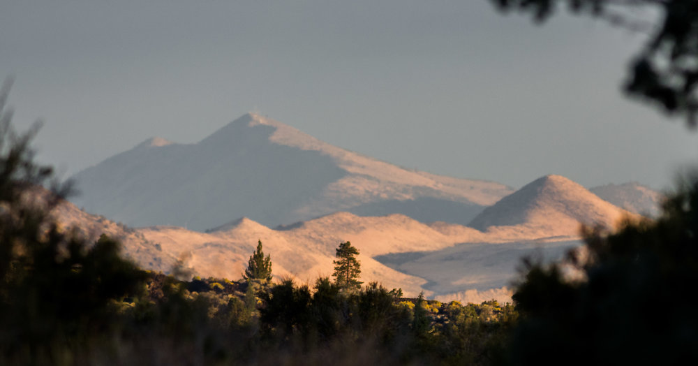 Mt Dome at Sunrise - Lava Beds NM, Siskiyou Co. (CA)  EQ: D7200, 300mm f/2.8   Taken: 10-2-2016 at 7:31   Settings: 450 mm (35mm eqiv), 1/1000s, f/3.5, ISO500, +1/3EV         Conditions: Sunny