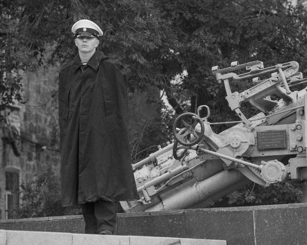 Russian Solider Stands Guard at Vladivostok WWII Memorial