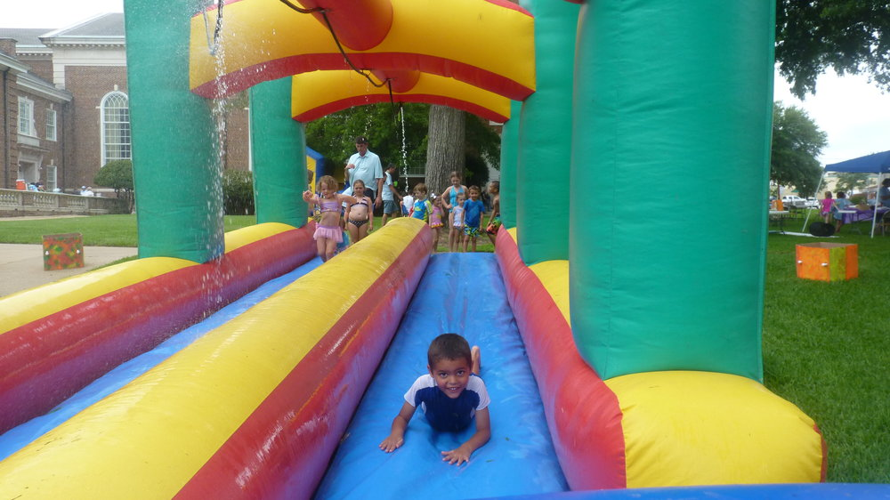 More VBS fun - sliding on the waterslide!