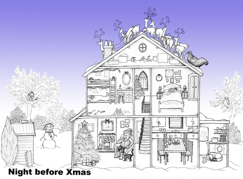 pack of 5 christmas cards 5 designs to choose from - Houses To Colour In
