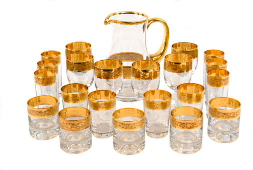 Photo of a set of antique gold leaf glasses that could be more valuable for their gold than their collectible value, which you can find out from Specialty Metals Smelters & Refiners.