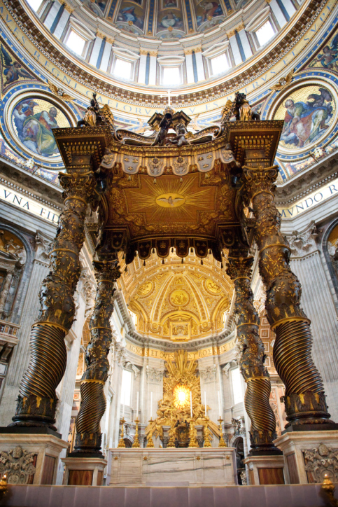 Shown: the inside of St. Peter's Basilica in the Vatican in Rome shimmers with just some of the gold the Catholic Church owns, as described in this blog post for GoldRefiners.com.