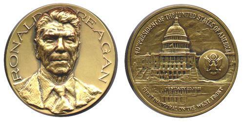 1981 Ronald Reagan Inaugural Medal, courtesy of InauguralMedals(dot)com.