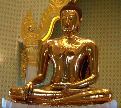 Screen grab of Golden Buddha from video for a Gold Refiners blog post, What the World's Largest Golden Buddha Tells Us About Recycling Gold.