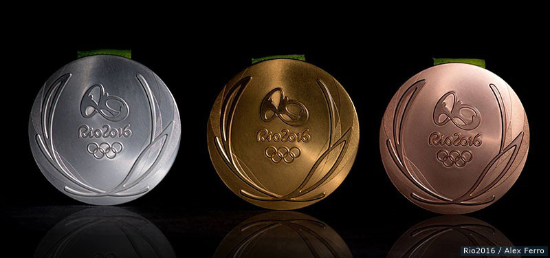 The Rio 2016 Silver, Gold and Bronze medals. Credit: Rio2016/Alex Ferro.