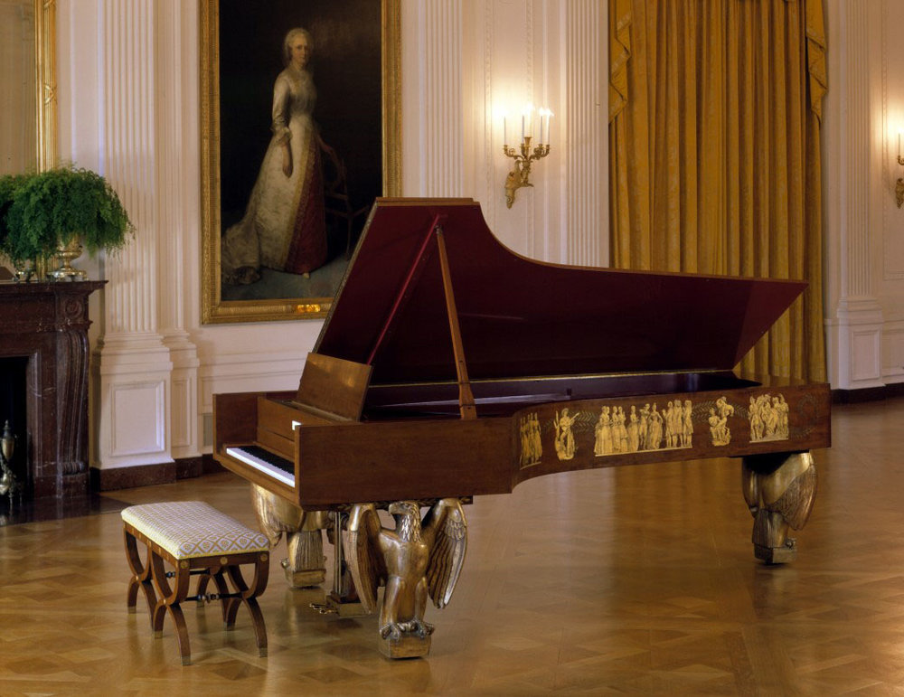 The White House Steinway grand piano, Gift of Steinway & Co. 1938. Image via WhiteHouseHistory(dot)org.