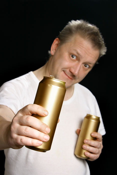 William Strimp shows off his golden cans. (And no, we were not brave enough to taste what was inside!) Credit: zoom-zoom/iStock.