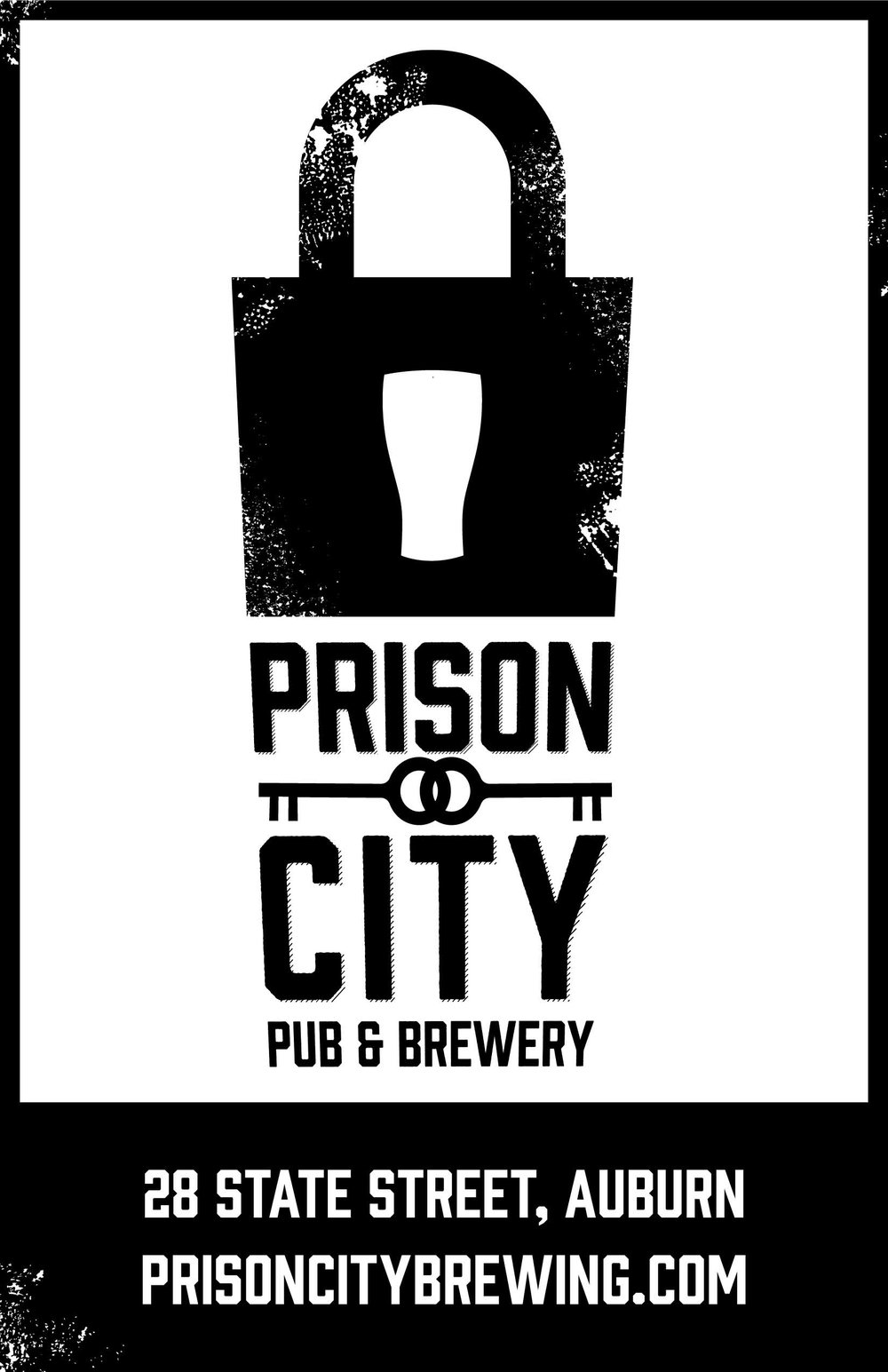 "Vertical Ad Layout with Lock and Key Logo stating ""28 State St., Auburn. Prisoncitybrewing.com"""