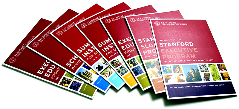 Executive Education course flyers showing color-coding system