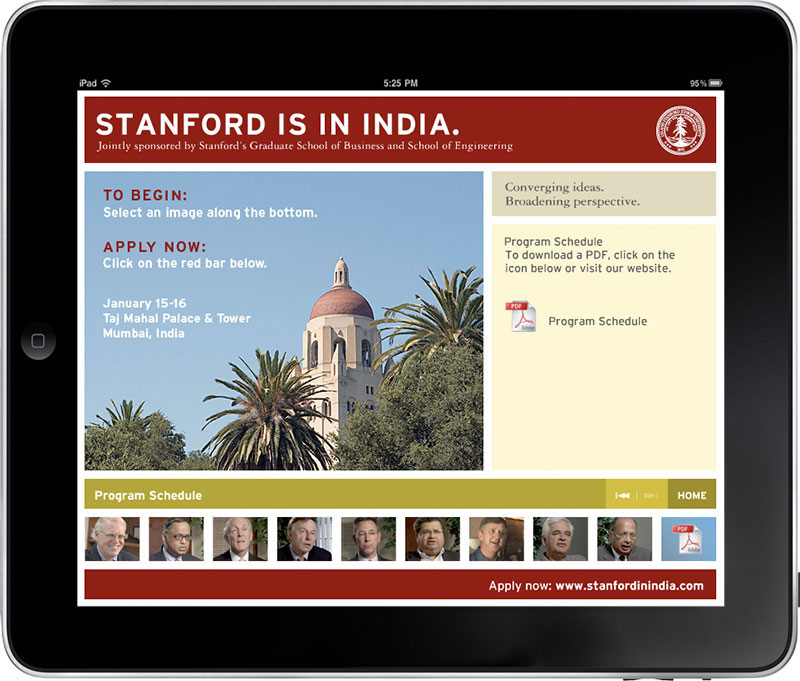 Stanford in India interactive app home page