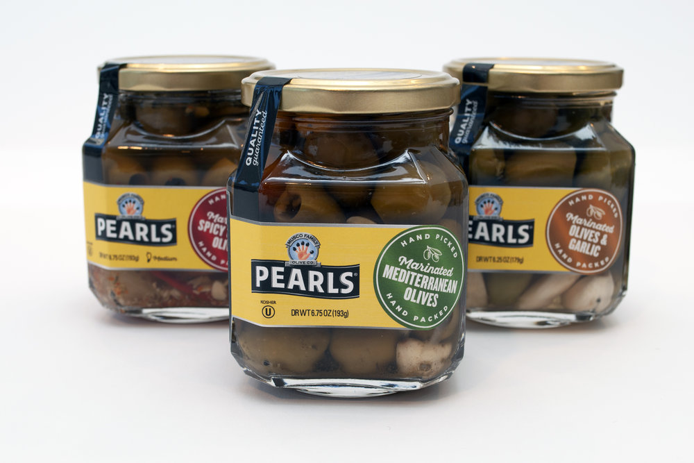 "Pearls  ""Prima"" marinated olive blend packaging"