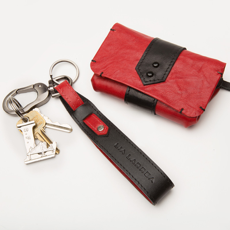 Red Leather Zoey Wallet with Double Pockets & Key Chain Leather Accessory to hold keys
