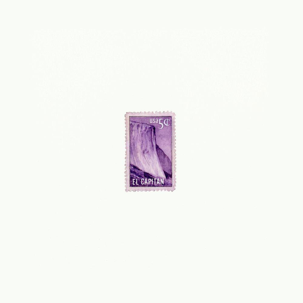 "El Capitan 5¢, Sheet Size 6"" x 6"", Image Size 1 9/16"" x 1"", Watercolor & Gouache, 2013"