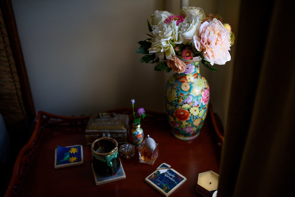 Side Table With Flowers and Tea Cup