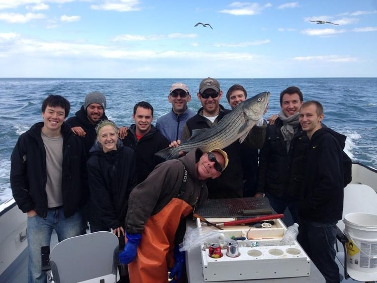 Chef de Cuisine Michael Gallina and team of cooks from  Blue Hill at Stone Barns aboard FV Sea Wife IV on their 2nd annual Dock to Dish fishing adventure (May 2014)