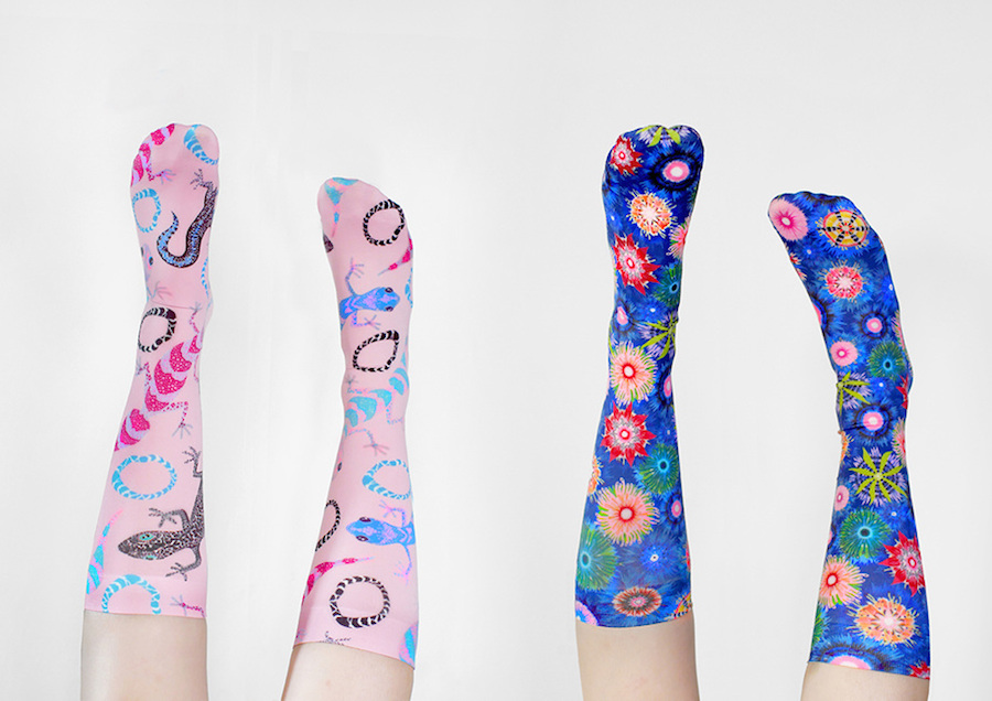 An image of socks in the collection by Julie White entitled 'STRAYA NIGHTS.'
