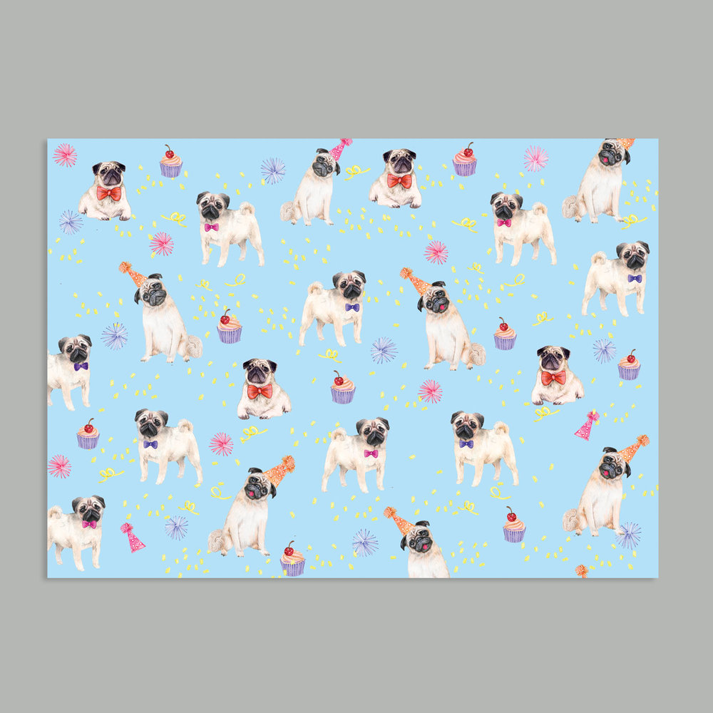 pedro pug party wrap paper ahd paper co