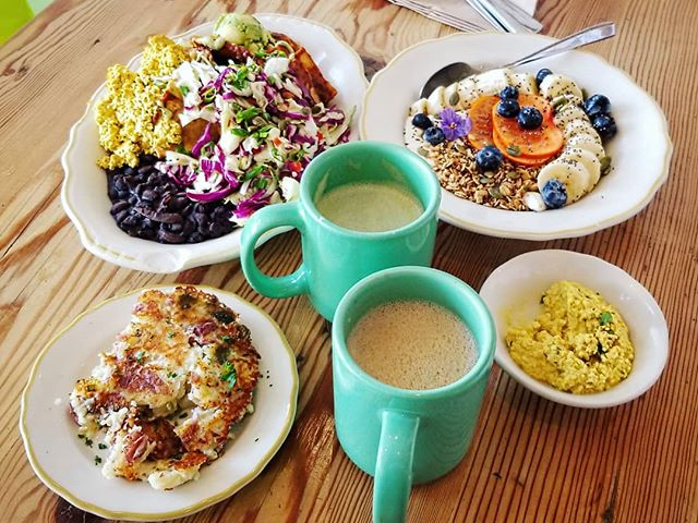@kitchenmousela saved breakfast this morning. Look at this smorgasbord!!! ❤️❤️ #veganbreakfast #chilaquiles