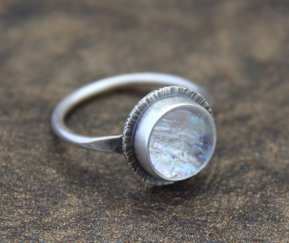 Tiny Dichroic Ring in Sterling Silver