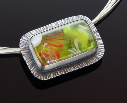 Green Ruffled Layered Glass Pendant
