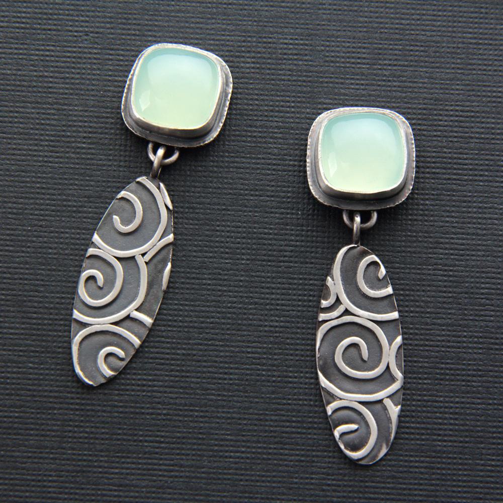 Swirl Chalcedony Earrings