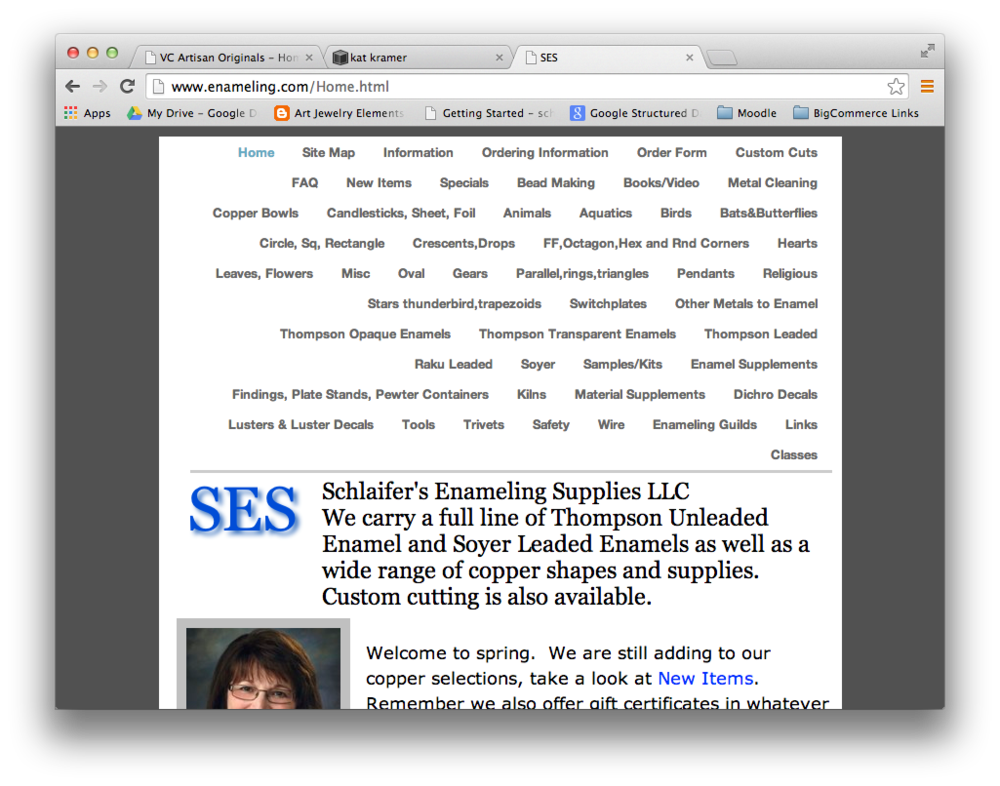 Schlaifer's Enameling Supplies, created in Apple's old iWeb product