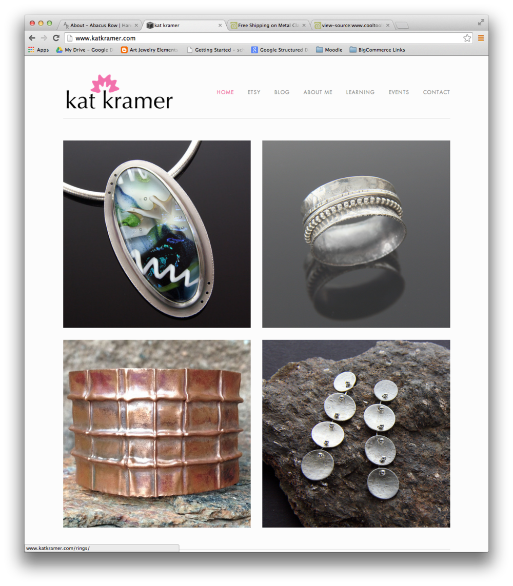 Main page of katkramer.com with large thumbnails