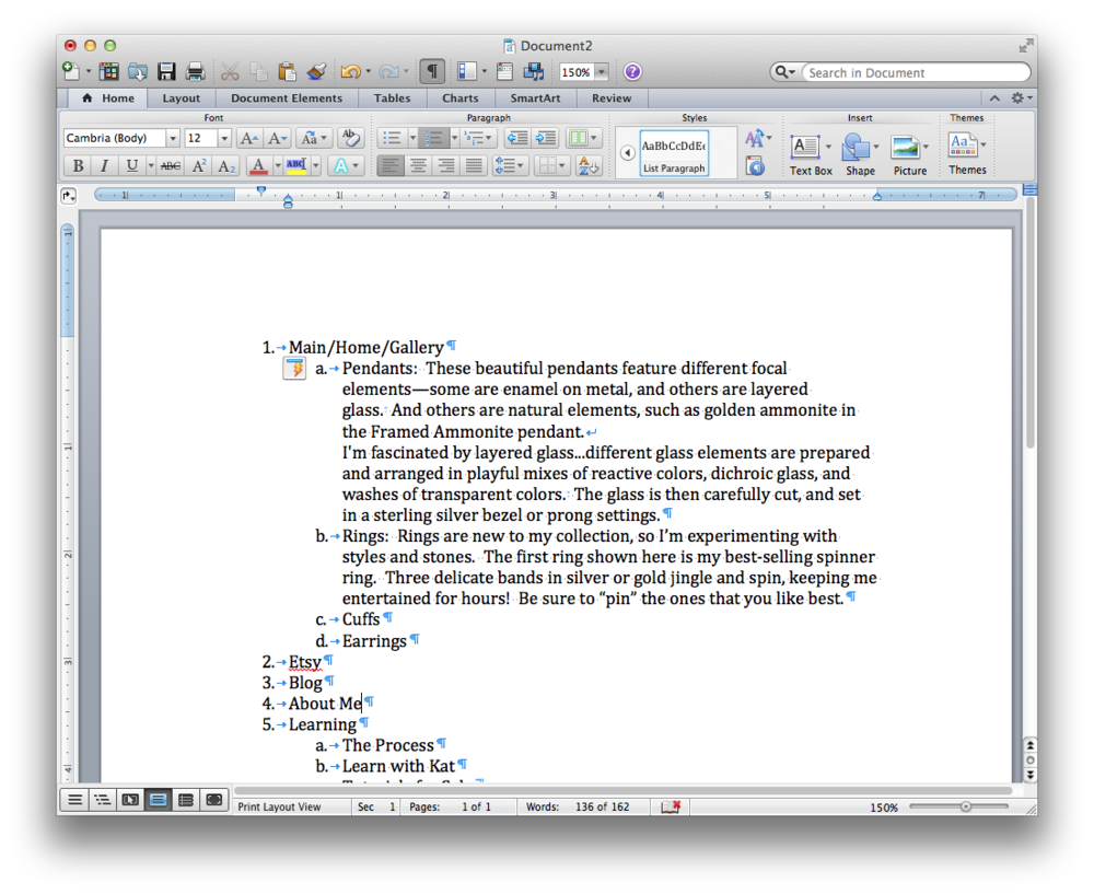 Using Microsoft Word to create the text for your website