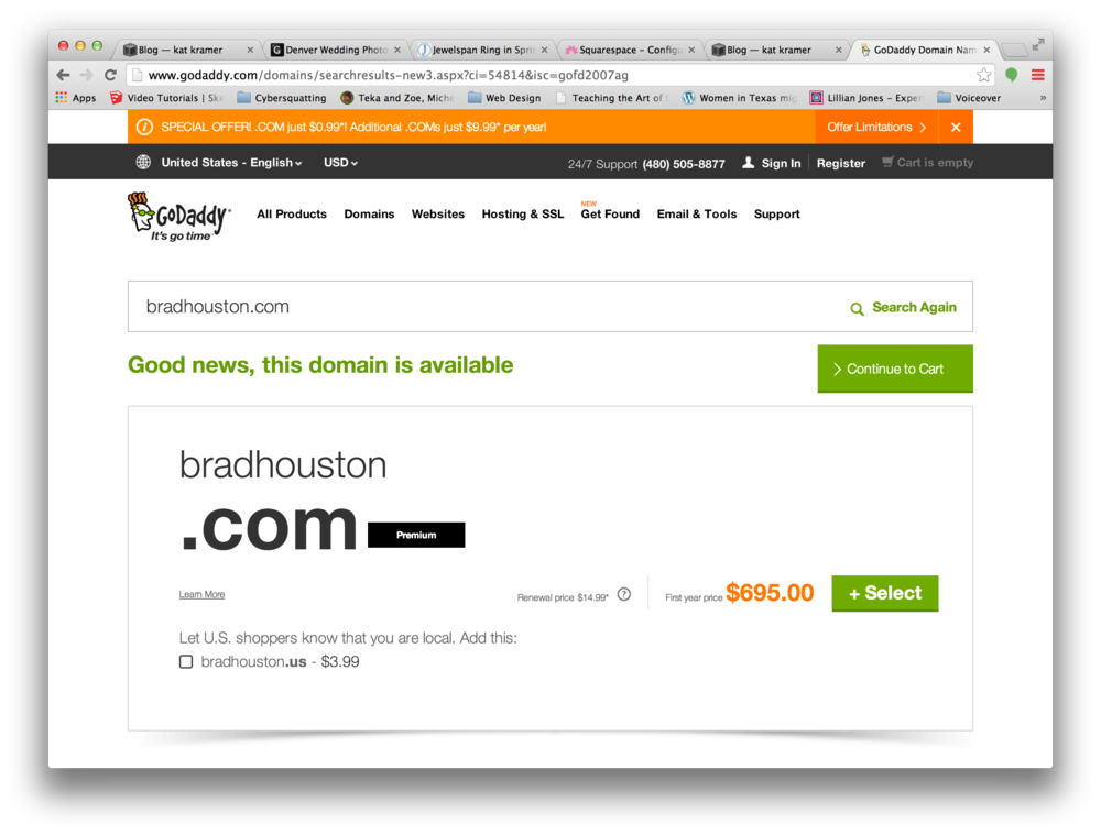 "A GoDaddy page showing a ""premium"" domain that's being offered by a ""domain name reseller"""