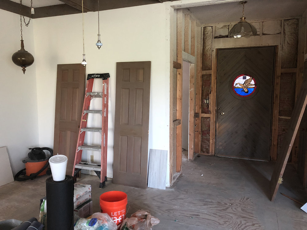 Removing cedar and moving door